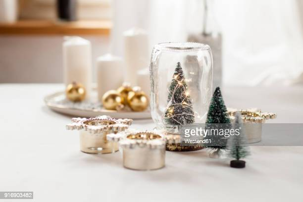 christmas decoration on table - christmas decoration stock pictures, royalty-free photos & images
