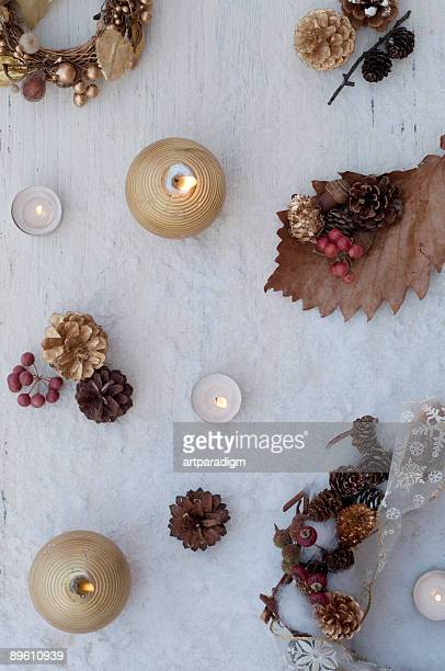 Christmas decoration on the white wooden board