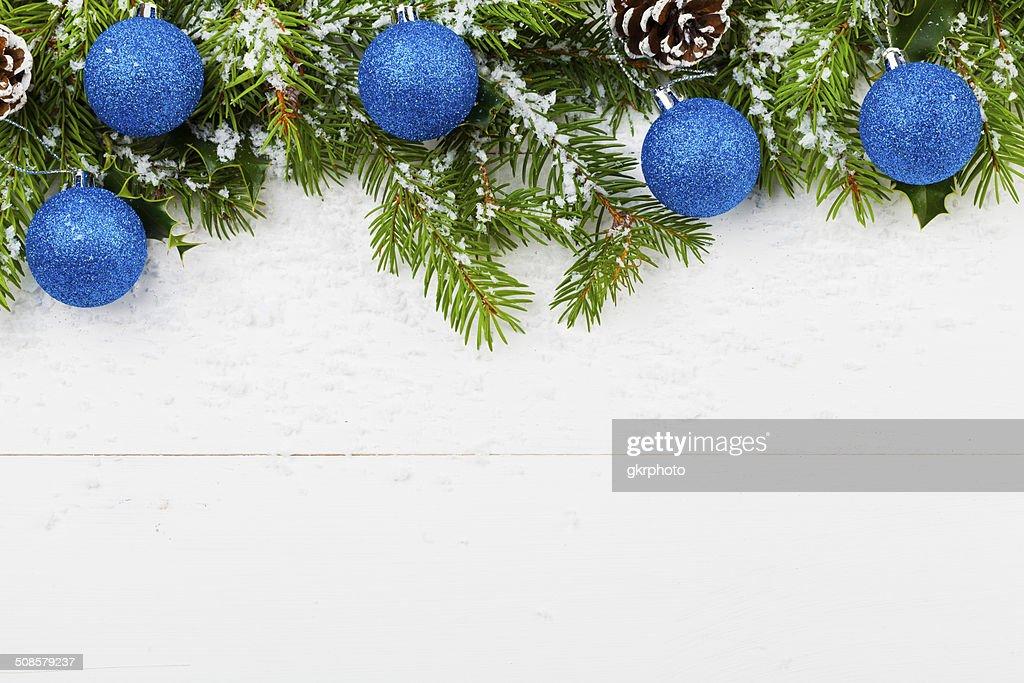 Christmas decoration on the wooden white background : Stockfoto