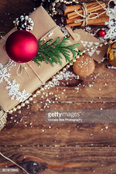 Christmas decoration over grunge wooden background
