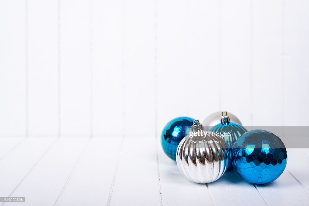 Christmas decoration over white background - selective focus, copy space : Stock Photo