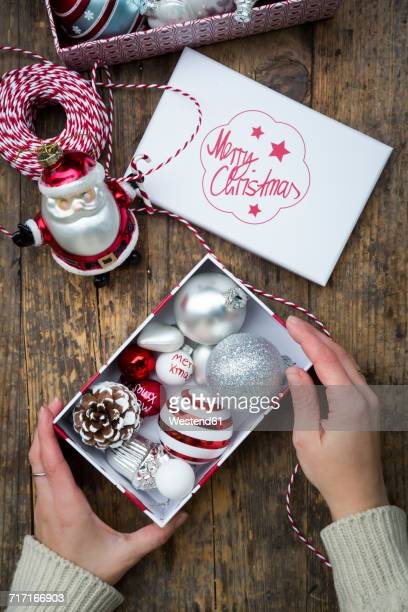 christmas decoration - gift icon stock photos and pictures