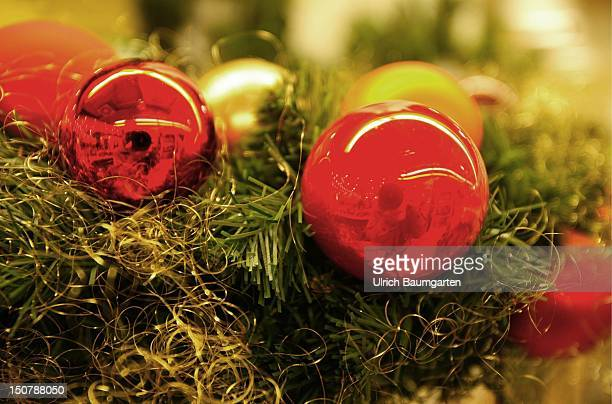 Christmas decoration Red christmas spheres decorated