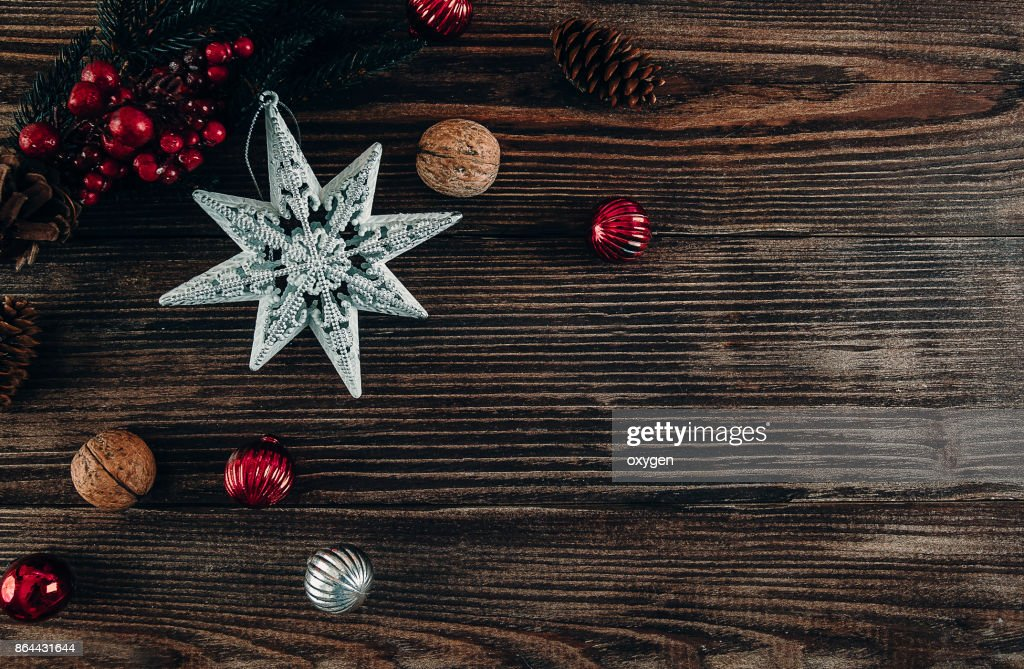 Christmas Decoration Star on Dark Wooden Background : Stock Photo