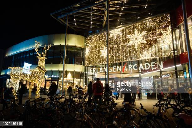Christmas decoration with a reindeer at the Erlangen Arcaden Christmas Market in Erlangen Bavaria Germany