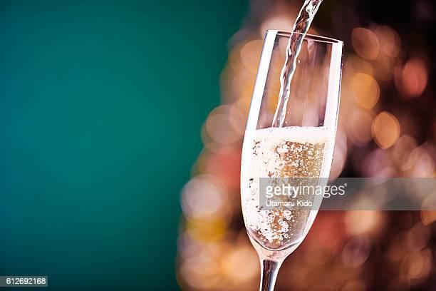 christmas decoration. with champagne glass. - シャンパン ストックフォトと画像