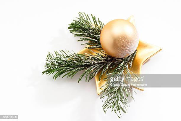 Christmas decoration with Christmas bauble and fir twigs