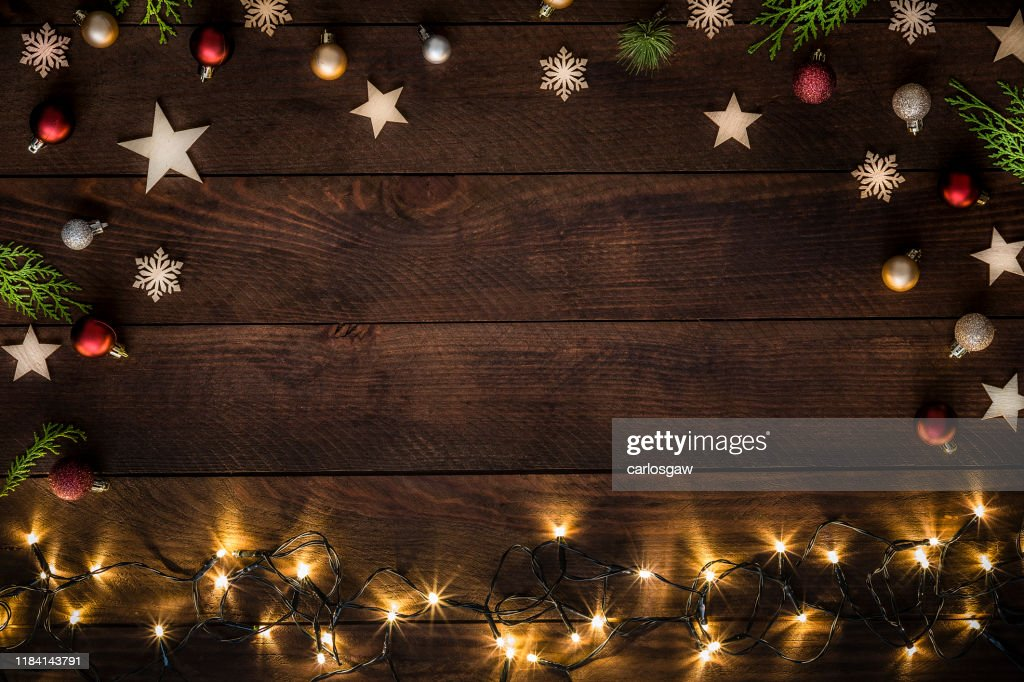 Christmas decoration with copy space on a rustic wooden table : Stock Photo