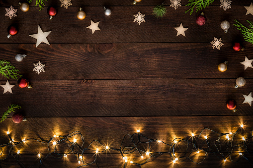 Christmas decoration with copy space on a rustic wooden table 1184143791