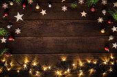 Christmas decoration with copy space on a rustic wooden table