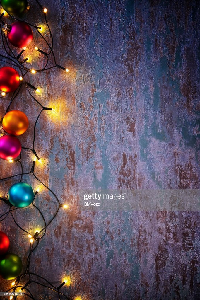 Christmas Decoration with Ornaments and Holiday Lights : Stock Photo