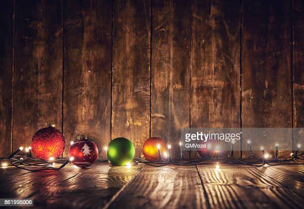 christmas decoration with ornaments and holiday lights - christmas wallpaper stock pictures, royalty-free photos & images