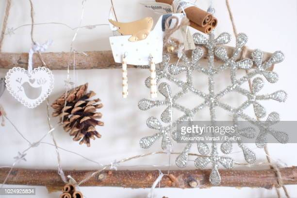 Christmas Decorations Against Wall