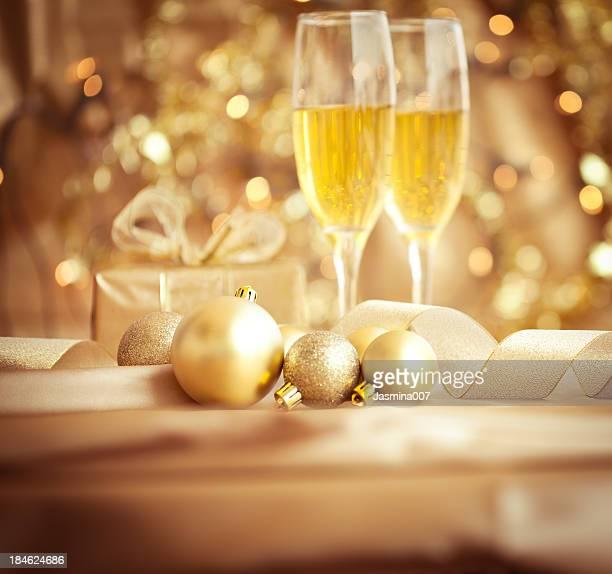 Décorations de Noël et de champagne