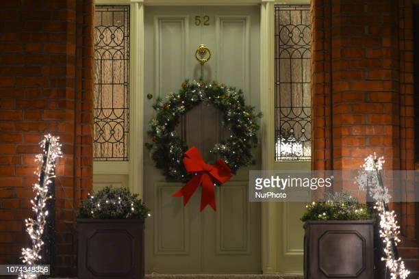 Christmas decorations and Christmas wreath seen on a door of a house in Ranelagh On Thursday December 17 in Ranelagh Dublin Ireland