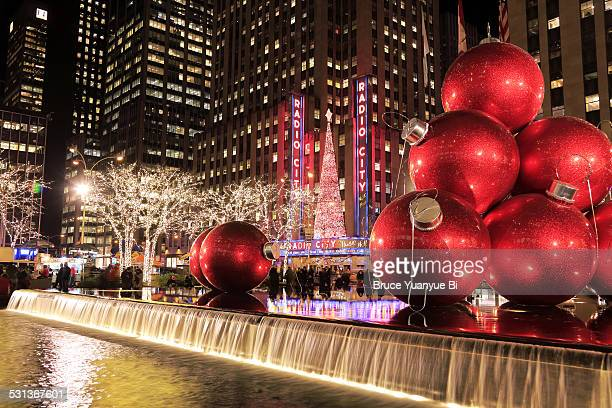 Christmas decorations and Radio City at night