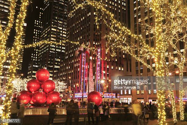 Christmas decorations and Radio City at night