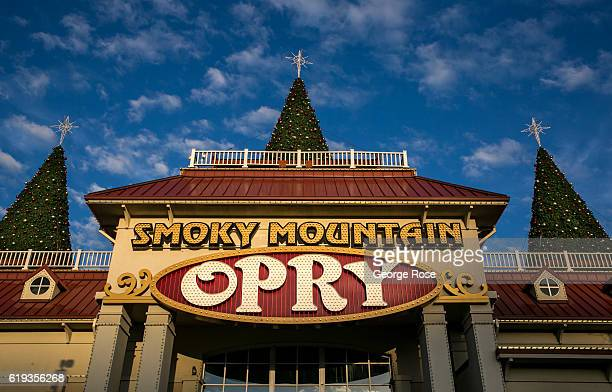Christmas decorations are already up at the Smoky Mountain Opry on October 18 2016 in Pigeon Forge Tennessee Located near the entrance to Great Smoky...