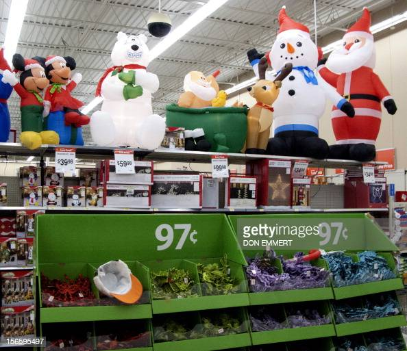 Christmas Decorations Are Displayed At A Walmart Store On