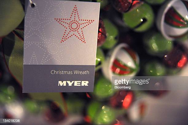 Christmas decorations are displayed in the Myer Holdings Ltd Melbourne City store in Melbourne Australia on Thursday Nov 24 2011 Myer Holdings Ltd is...