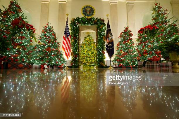 Christmas decorations are on display in the Cross Hall and Blue Room of the White House on November 30, 2020 in Washington, DC. This year's theme for...
