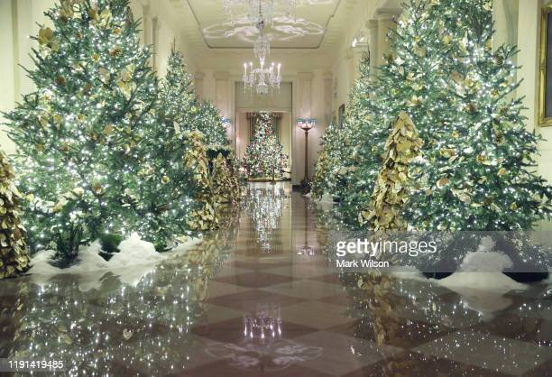 Christmas decorations are on display in the Grand Foyer at the White House December 2 2019 in Washington DC The White House expects to host 100 open...