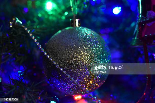 Christmas decorations are seen adorning on a Christmas tree as part of the Christmas holidays on December 24 2019 in Mexico City Mexico