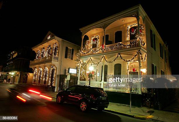 Christmas decorations are seen at the Nine-O-Five Royal Hotel in the French Quarter December 22, 2005 in New Orleans, Louisiana. Devastated by...