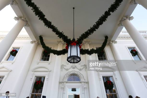 Christmas decorations are seen at the North Portico of the White House during a press preview of the 2017 holiday decorations November 27 2017 in...