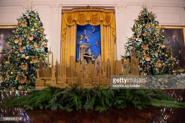 Christmas decorations are seen at the White House during a preview of the 2018 holiday decor in Washington DC on November 26 2018