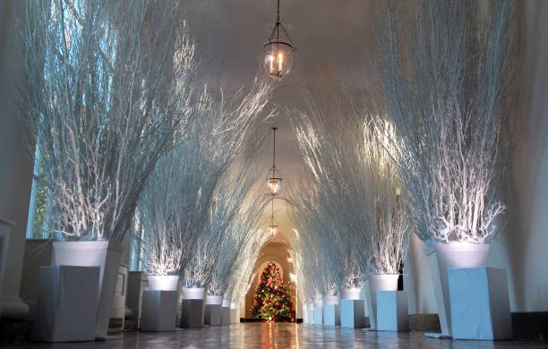 christmas decorations are seen in the east wing during a preview of holiday decorations at the