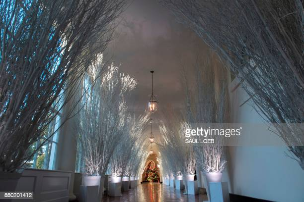 Christmas decorations are seen in the East Wing during a preview of holiday decorations at the White House in Washington DC November 27 2017 / AFP...