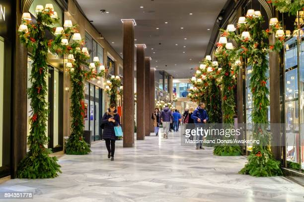 Christmas decorations are seen inside a luxury shopping gallery in center of Bologna on December 17 2017 in Bologna Italy