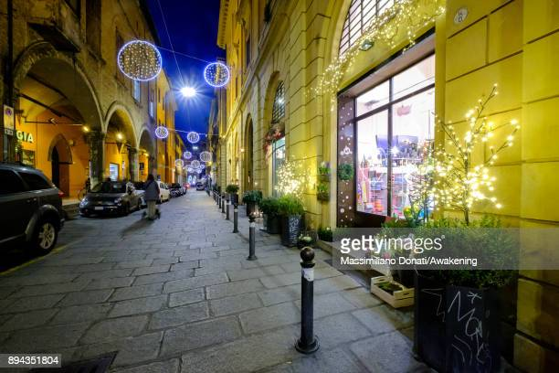 Christmas decorations are seen outside a store in center of Bologna on December 17 2017 in Bologna Italy