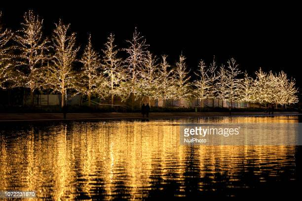 Christmas decorations at the Stavros Niarchos Foundation Cultural Center in Athens Greece on December 12 2018
