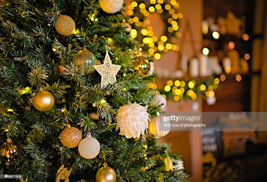 Christmas Decorations Background Fireplace Christmas Decoration Home Decoration For Christmas Fireplaceb Mantel Decoration Christmas Lights Gift Box Candles Furtree High Res Stock Photo Getty Images
