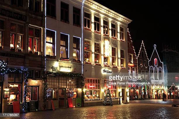 Christmas decorations buildings Bruges City