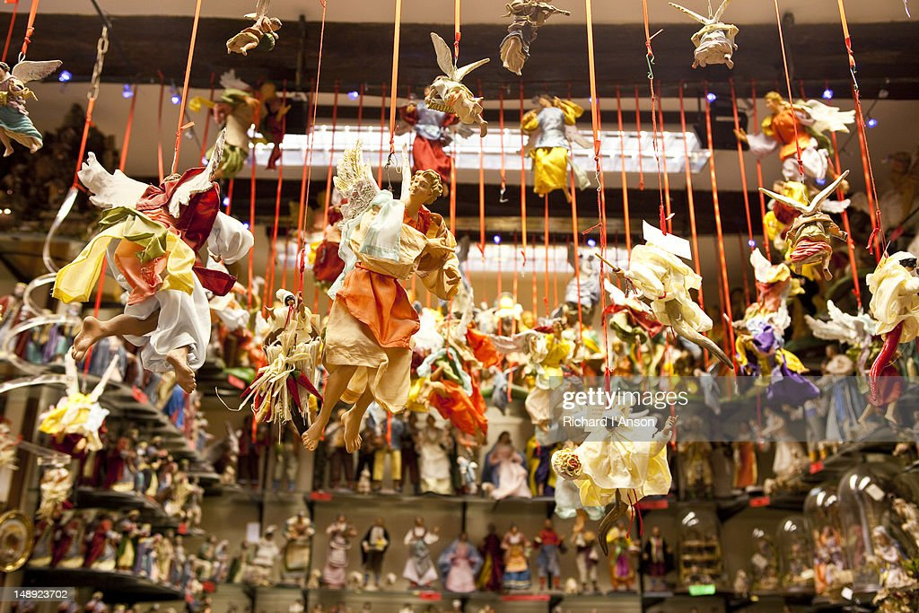 Christmas decorations displayed in shop on Via San Gregorio Armeno. : Stock Photo