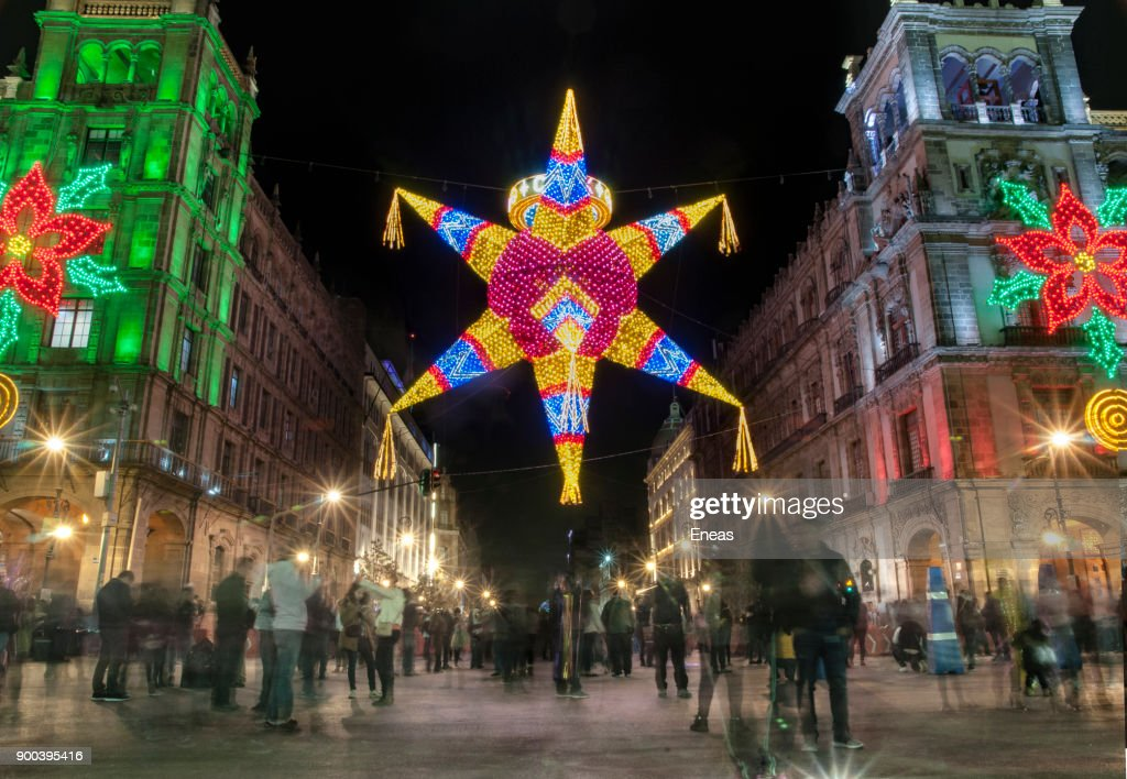 Christmas Decorations Downtown Mexico City High-Res Stock ...