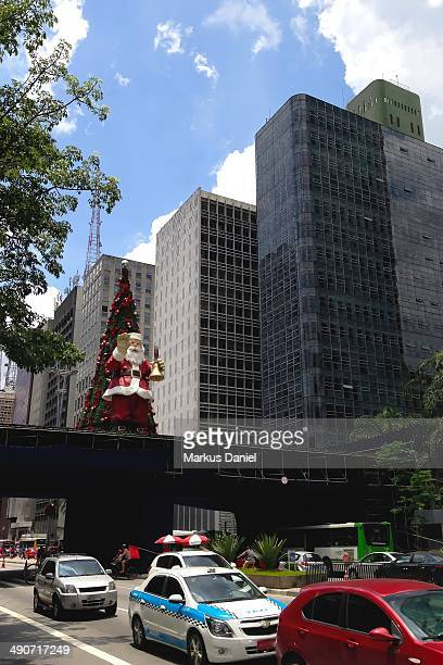 Christmas Decorations going up on Avenida Paulista in Sao Paulo