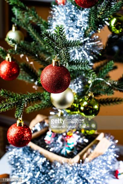 christmas decorations hanging on tree - oleksandr vakulin stock pictures, royalty-free photos & images