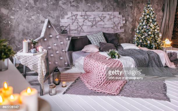 christmas decorations home bedroom, christmas background indoors