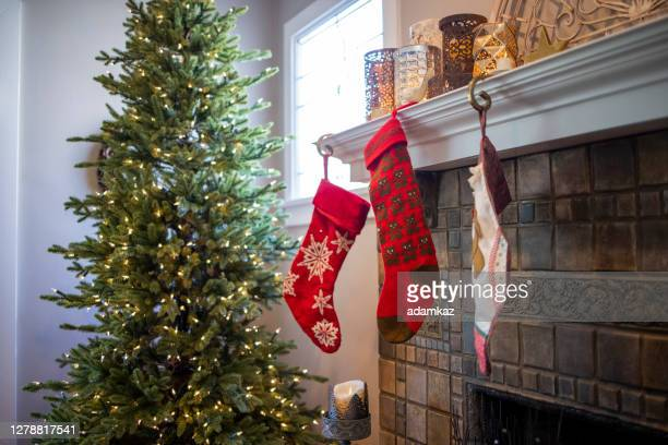 christmas decorations in craftsman bungalow house - monrovia california stock pictures, royalty-free photos & images
