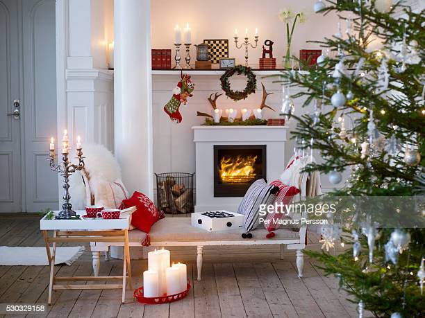 Christmas decorations in living room