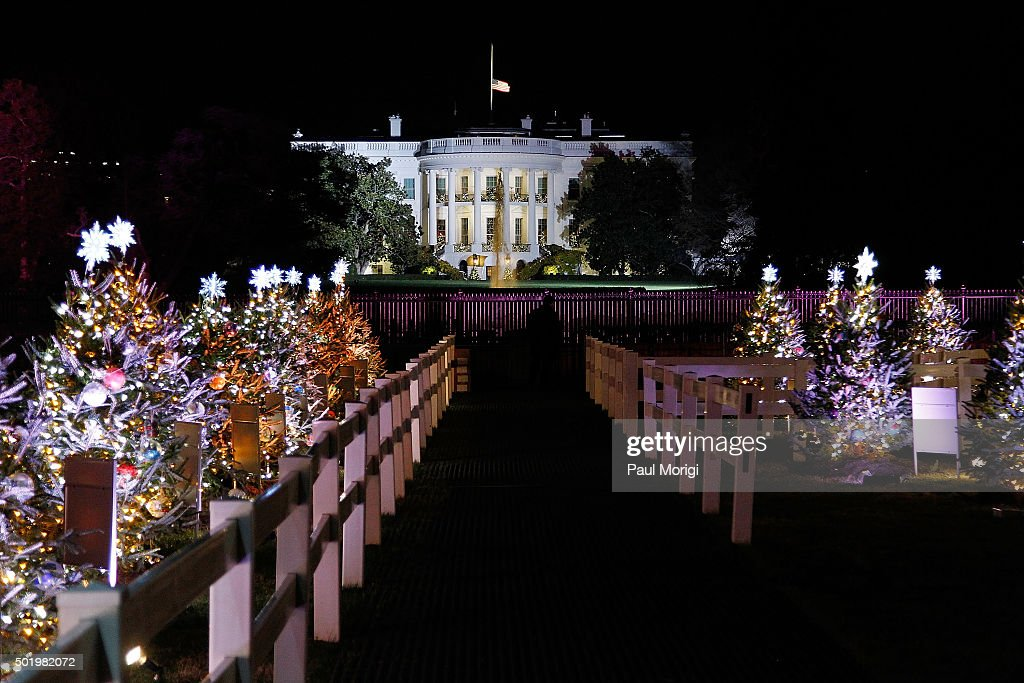 Christmas decorations in President's Park on December 3, 2015 in  Washington, ...