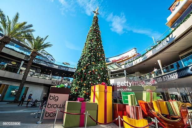 Christmas decorations in Santa Monica, CA, USA