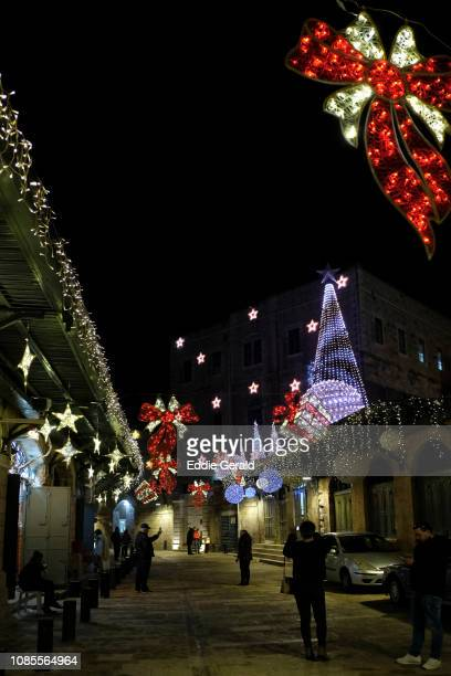 Christmas decorations in the Christian Quarter Jerusalem