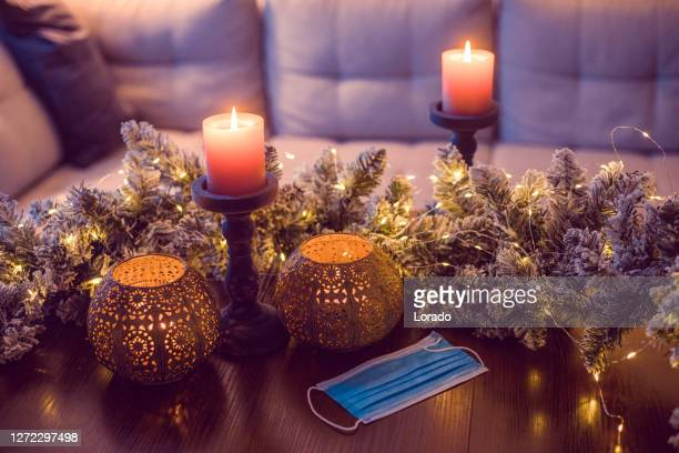 christmas decorations in xmas home during extended corona virus lockdown - coronavirus winter stock pictures, royalty-free photos & images