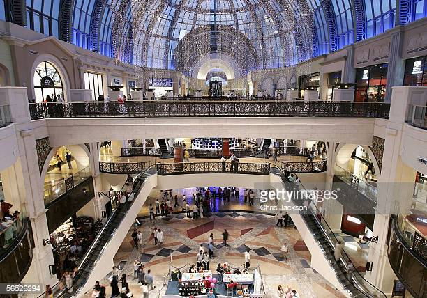 Christmas decorations light up the interior of the newly constucted Emirates Mall December 15 2005 in Dubai United Arab Emirates The Emirates Mall is...