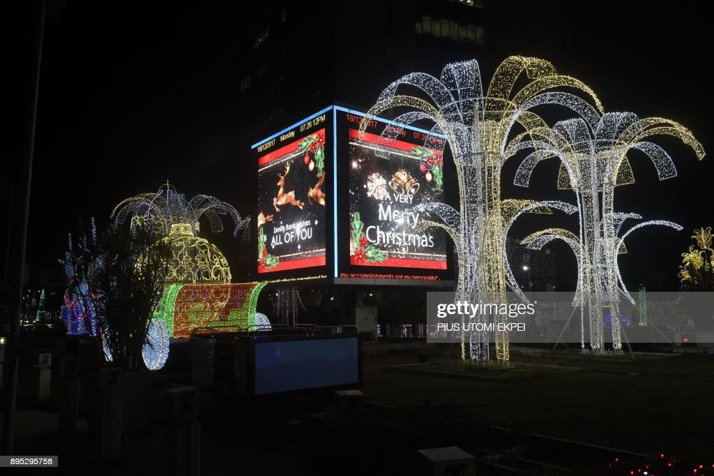 christmas decorations light up the streets of lagos on december 18 2017 lagos metropolis
